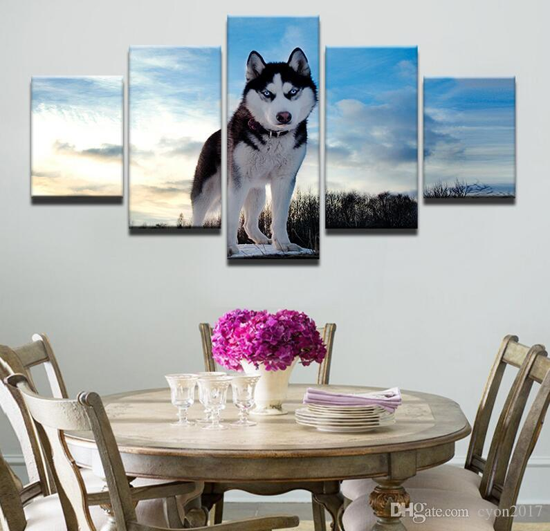 Modern Canvas Pictures Living Room Wall Art 5 Piece Animal Cat Wolf Dog Poster Husky Meow Star Painting Printed Home Decor Frame a023