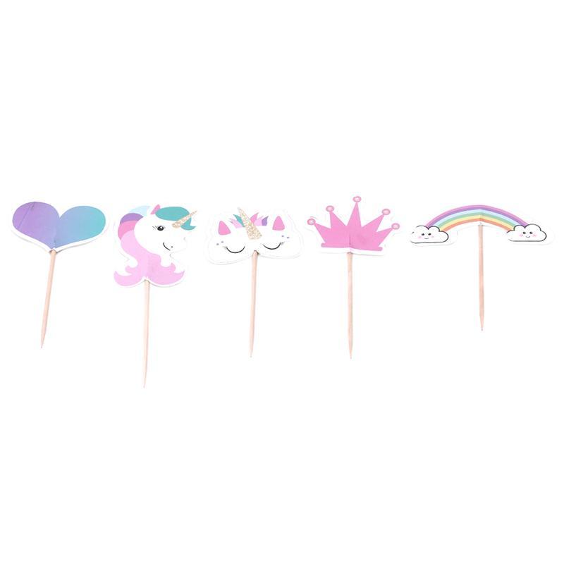 24 قطع يونيكورن كيك توبر عيد سعيد ديكور الاطفال يونيكورن مهرجان حزب اللوازم ورقة كعكة توبر استحمام الطفل صالح