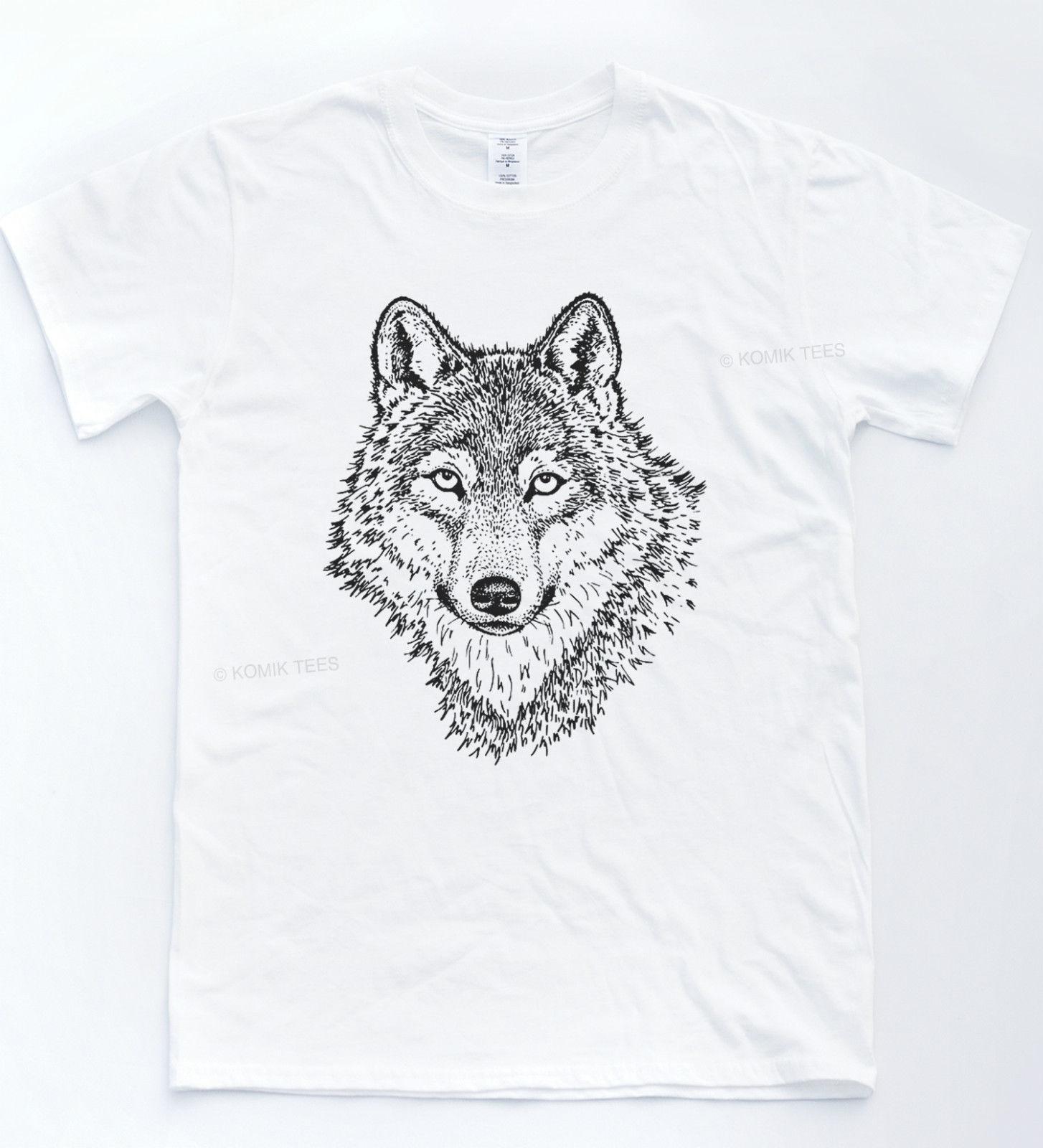 Compre Lobo Dibujo Luna Llena Camiseta Moda Rompiendo Camiseta