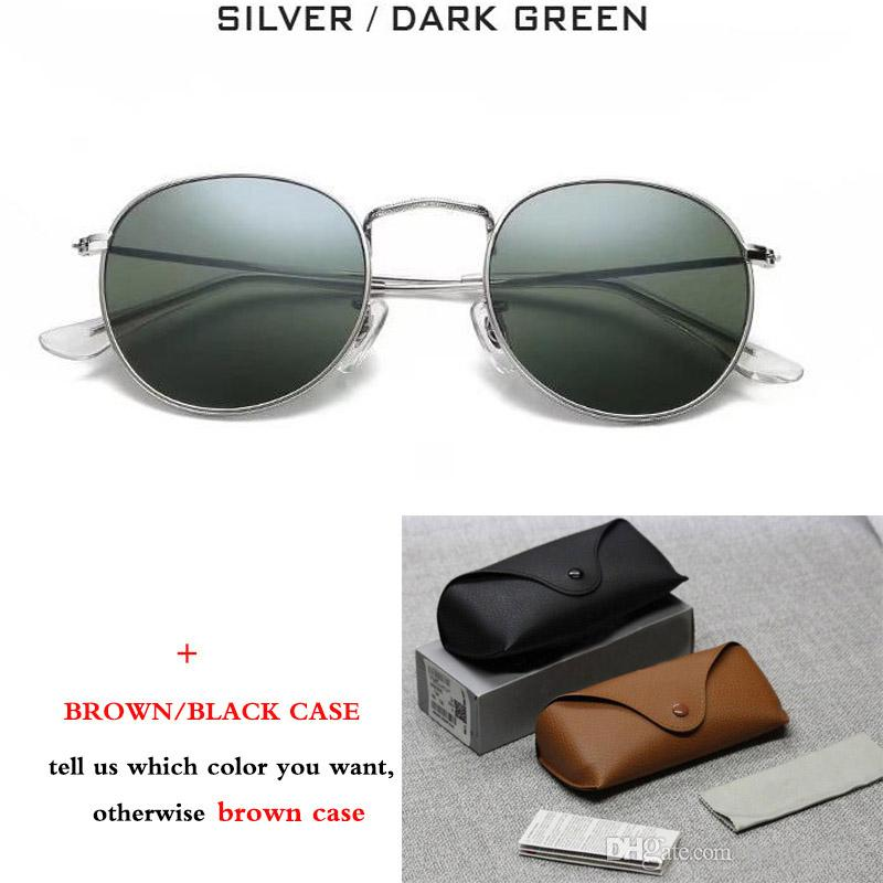 New Classic 3447 Round Metal Style Sunglasses Men Women Vintage Retro Brand Design Sun Glasses Oculos De Sol with brown case
