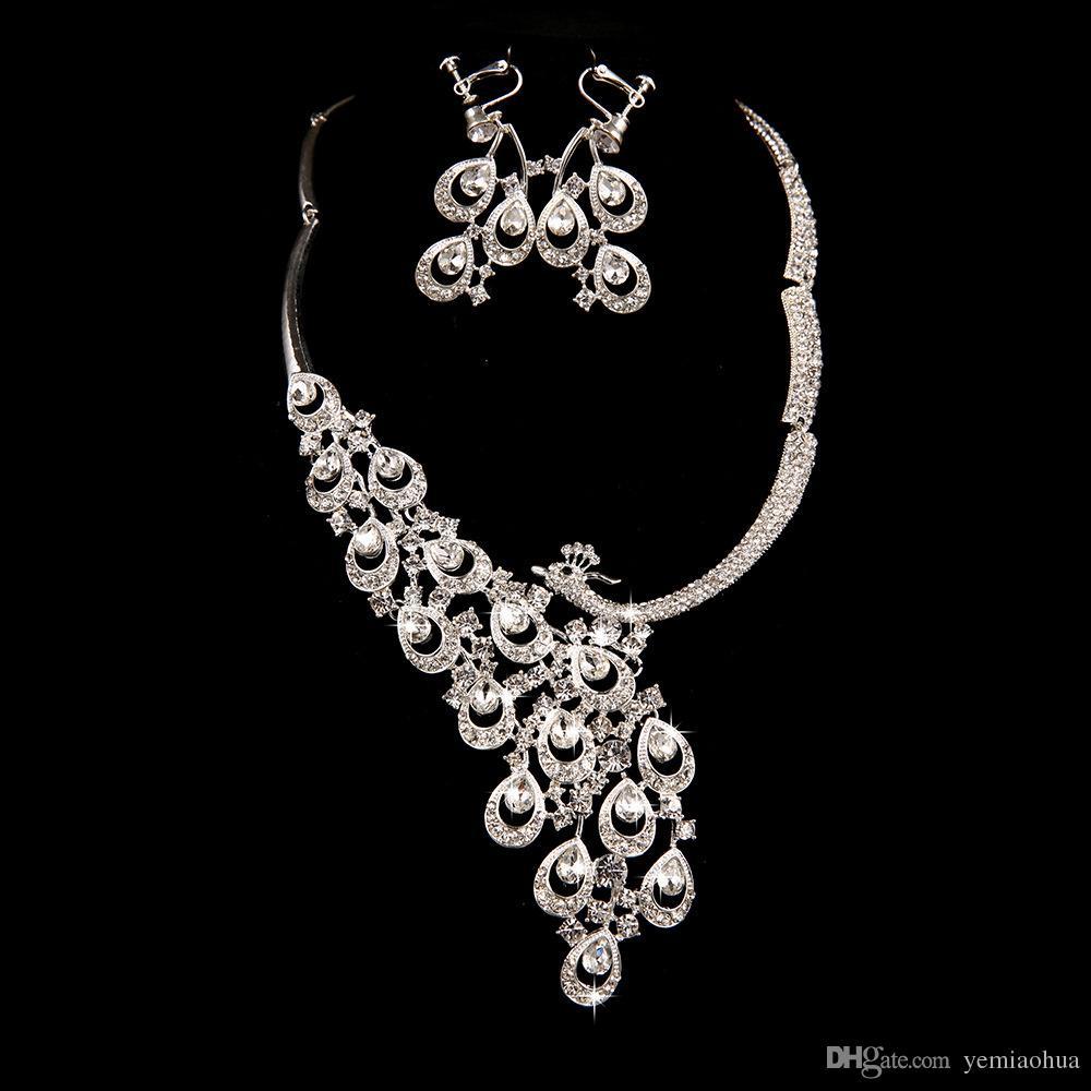 Zarif Simüle İnci Gelin Takı Setleri Gümüş Renk Kristal Kolye Küpe Setleri Düğün Takı Moda Takı Setleri