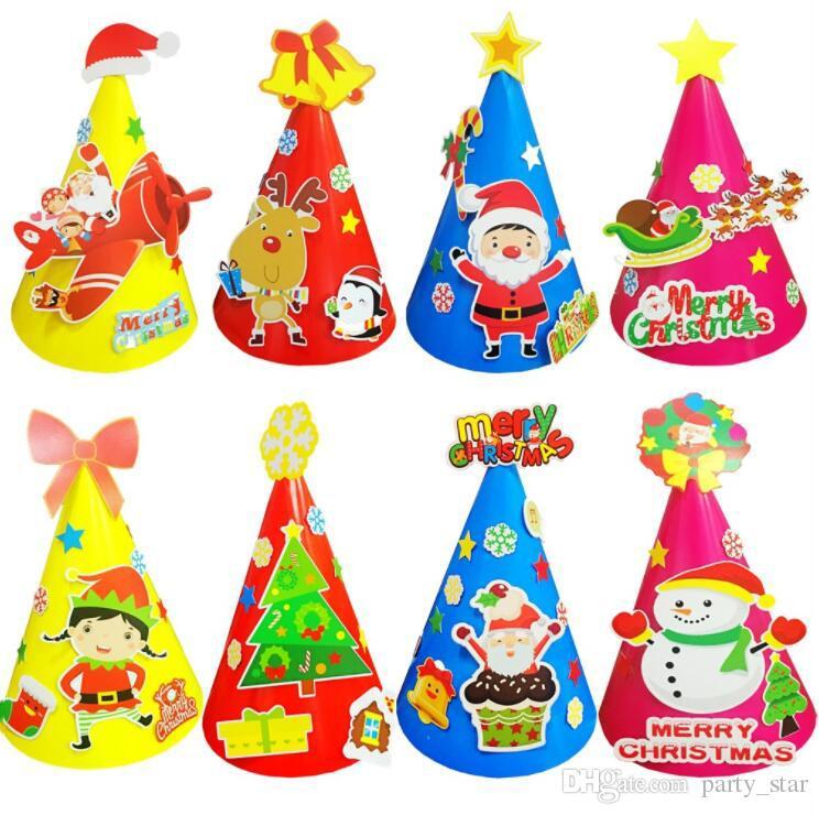 eb5d690f1c487 Kindergarten Kids DIY Christmas Hats Children Birthday Funny DIY Party Cap  Adult Children Party Santa Claus Snowman Elk Hats Girl Birthday Hats Girl  In A ...