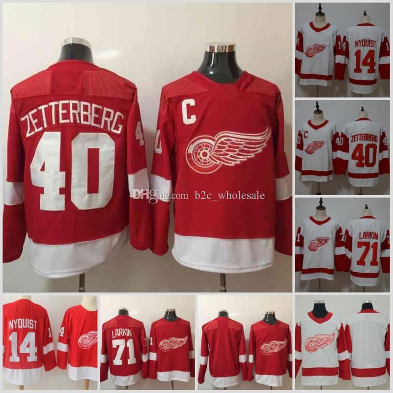 ca1d74de986 2018 New Detroit Red Wings Jersey Men's #71 Dylan Larkin 14 Gustav Nyquist  40 Henrik Zetterberg Hockey Embroidery Jerseys