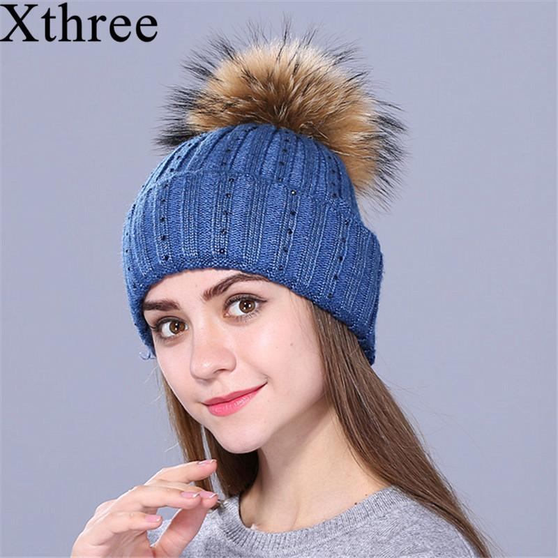 Xthree New Rhinestone Embroidery Winter Wool Knitted Hat For Women Beanie  Skullie Warm Cap Real Fur Pom Gorro Female Cap D18110601 Cap Shop Knitted  Hat From ... b3e8d05d07c3