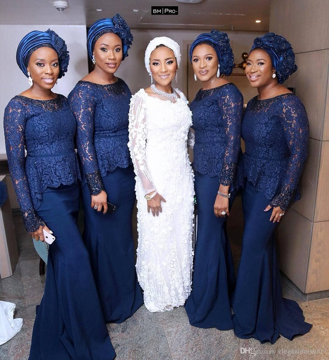 a6a3fa02da84 Navy Blue Mermaid African Bridesmaid Dresses Jewel Neck Lace Appliqued  Ruffles Long Sleeves Wedding Guest Dress Sweep Train Formal Gowns Brown  Bridesmaid ...