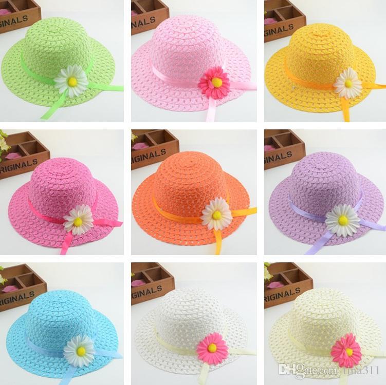 800c973c86238 Compre Sombrero De Paja De Girasol Sombrero De Sol Para Niños Sombreros De  Paja De Papel Hecho A Mano Al Por Mayor Nueve Colores 10 Unids   Lote  T2C304 A ...