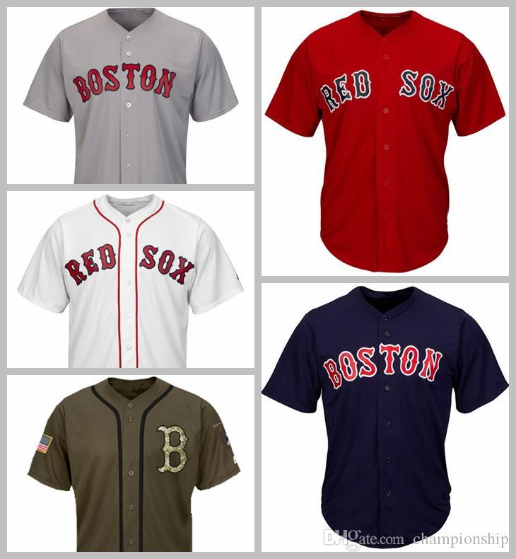 new styles 1175c 0990d 2019 Red Sox Jerseys Blank Jersey Baseball Jersey No Name No Number White  Gray Grey Navy Blue Red Green Salute to Service