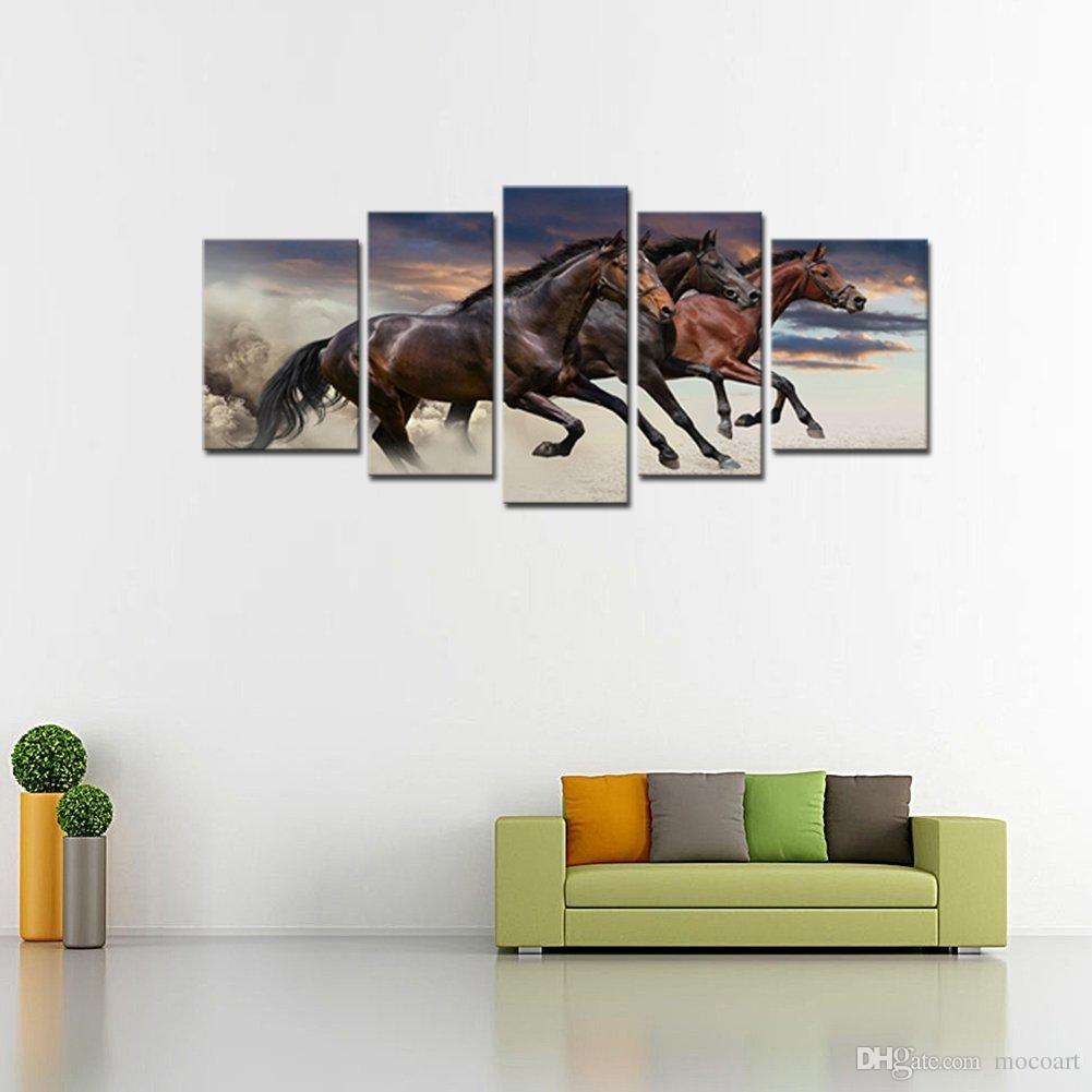 5 Peças de Arte Da Parede Da Lona Moderna Três Cavalos Finos Em Execução Pintura de Animais Para Sala de estar Decoração de Casa Emoldurado Pronto para Pendurar