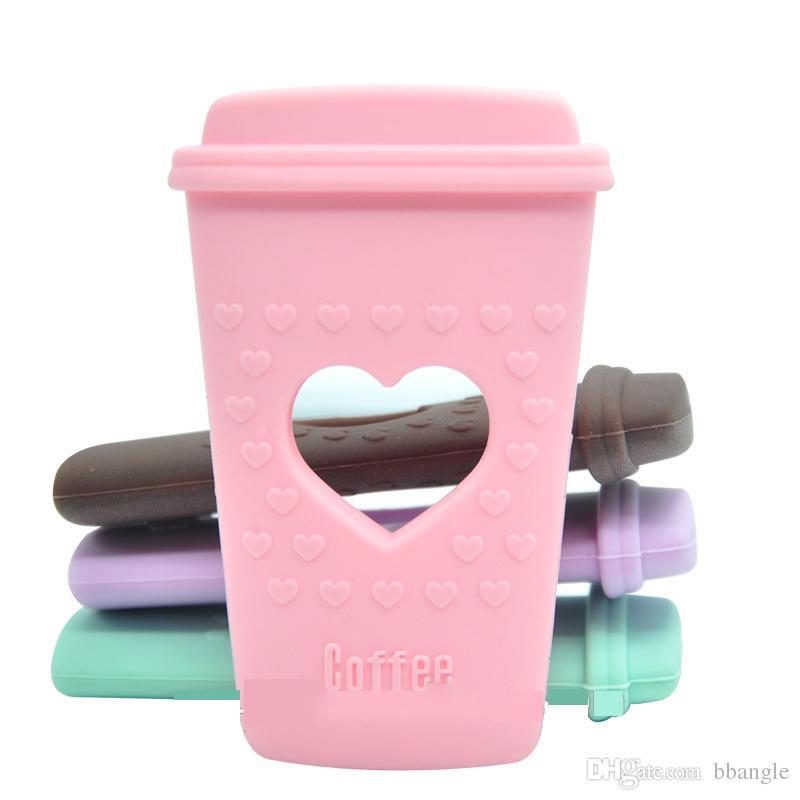 Tazza di caffè Massaggiagengive in silicone con cuore ragazzi e ragazze Chewelry Tazza di tè Massaggiagengive in silicone sicuro bambini BPA