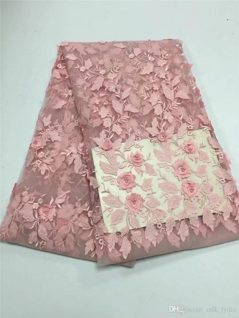 2018 nouvelle arrivée 3d fleur dentelle française haute qualité brodé paillettes net dentelle tissus pour robe de mariée