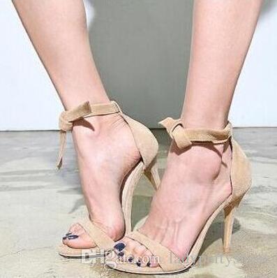 Senhoras Sapatos De Grife Estilo Simples Salto Alto 2018 Sandálias Para A Mulher laço Tornozelo-Strap Sandálias Elegante Sexy Vestido De Festa Sapatos