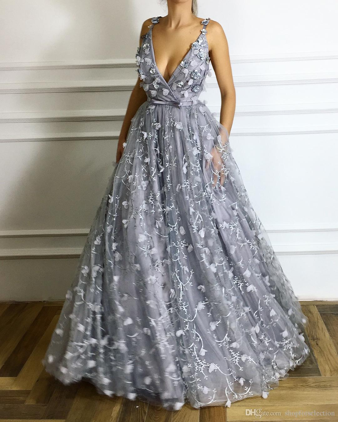 Princess 3d Floral Grey Long Prom Dresses 2019 A Line Plus
