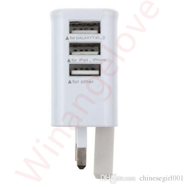 3 포트 영국 GB 홈 여행 USB 벽 충전기 삼성 갤럭시 s6 s7 가장자리 참고 사항 4 5 iphone 5 6 7 ipad