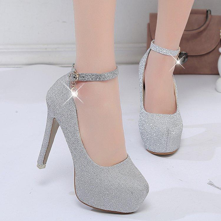 a5976d077b29 Party Woman Pumps Autumn Thick Heel Shoes Female Ultra Platform High Heels  Sweet Sexy Spring Sequin Ladies Silver Wedding Shoes Birkenstock Shoes  Brown ...