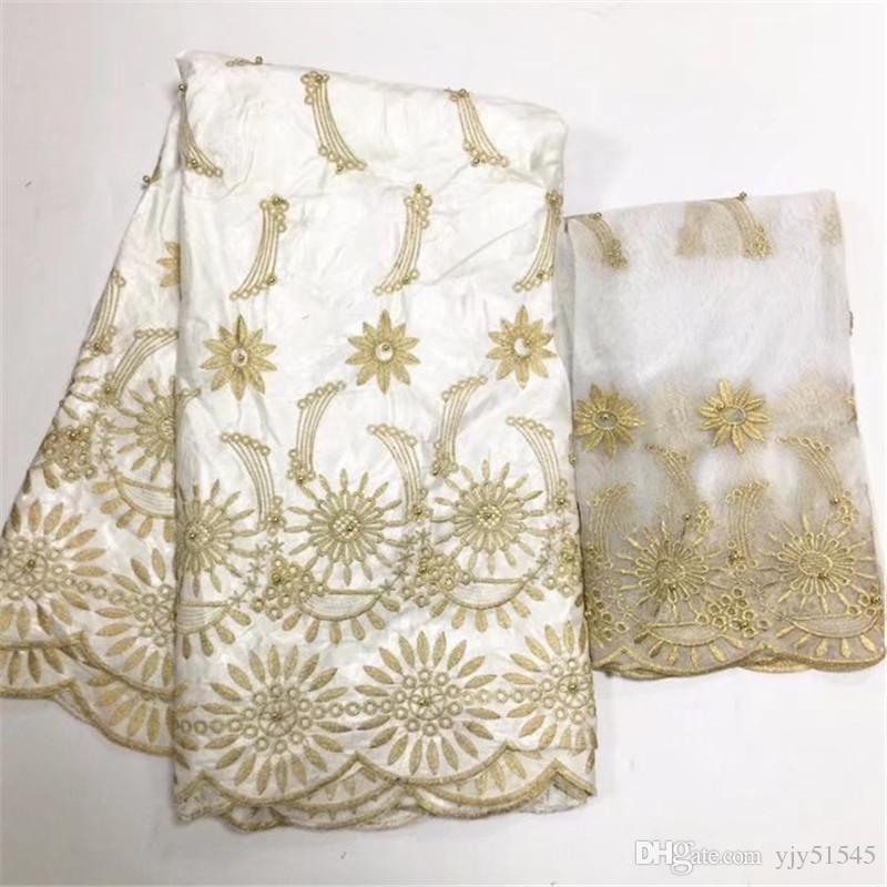 TPY1026 lace jacquard dress fabric bazin riche getzner embroidered net lace scarf with beads cheap-china-products 5+2yard
