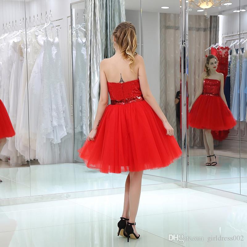 أزياء جميلة الأحمر تول حمالة فساتين كوكتيل 2019 جديد مثير الترتر الفتيات قصيرة حفلة موسيقية العودة للوطن حفلة موسيقية DressR
