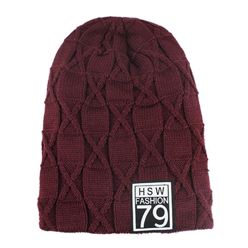 2019 2018 Winter Plus Velvet Warm Knit Cap Wool Hat Mens Headgear Outdoor  Navy 3fcf9fed052