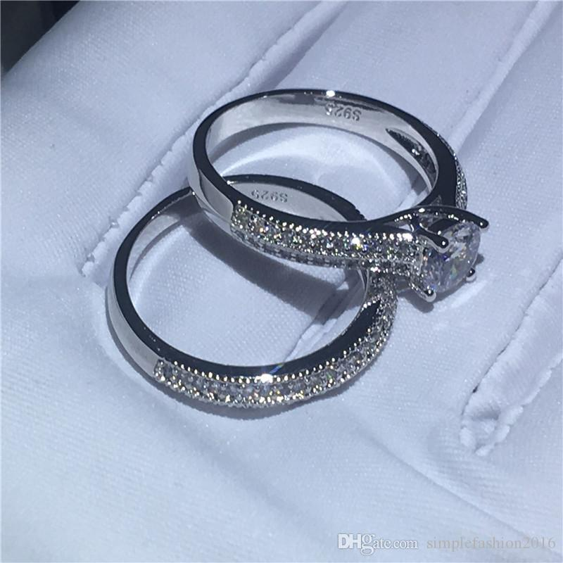 Handmade Genuine 925 Sterling silver ring Pave setting 5A Cz Stone Engagement wedding band ring for women Bridal sets Jewelry