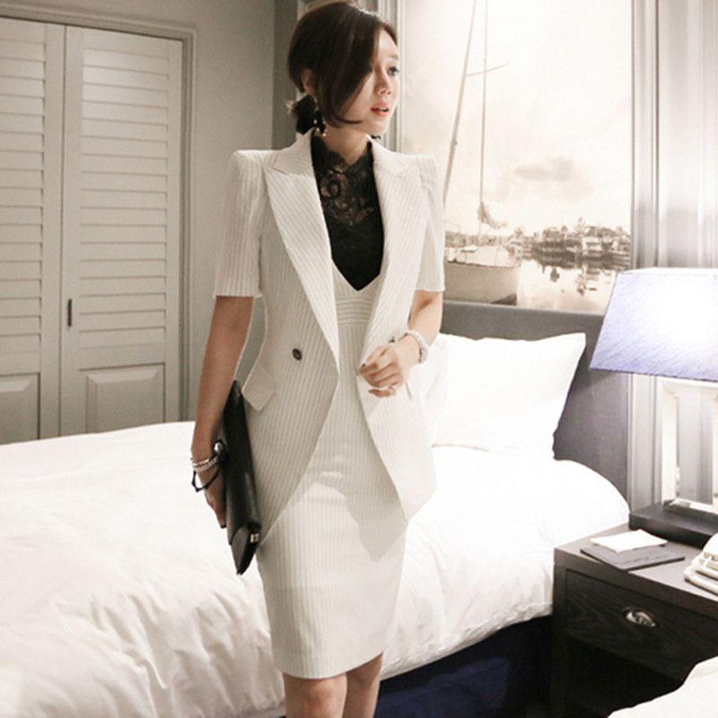 Compre 2018 Women Striped Office Lady Dress Suits 2 Conjuntos De Dos Piezas  Elegante Chaqueta Con Muescas Blazer + Vestidos De Tubo De Moda Femme A   62.66 ... eff97597a6f6