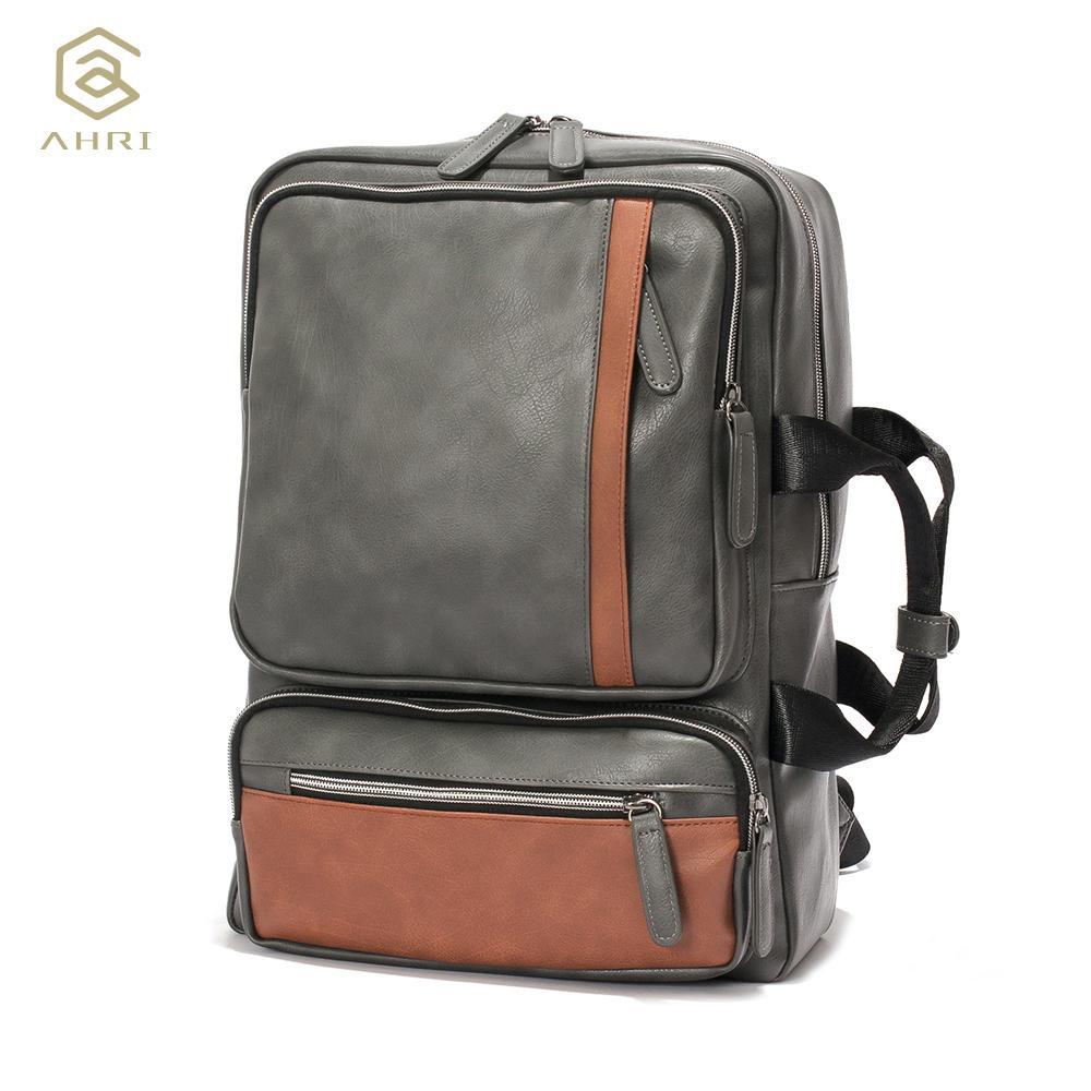 84990e474c71 AHRI NEW 2017 Backpacks For Men Bags PU Leather Men S Shoulder Bags Fashion  Men Business Casual School Boys Vintage Men Backpack Y1890302 Black Backpack  ...