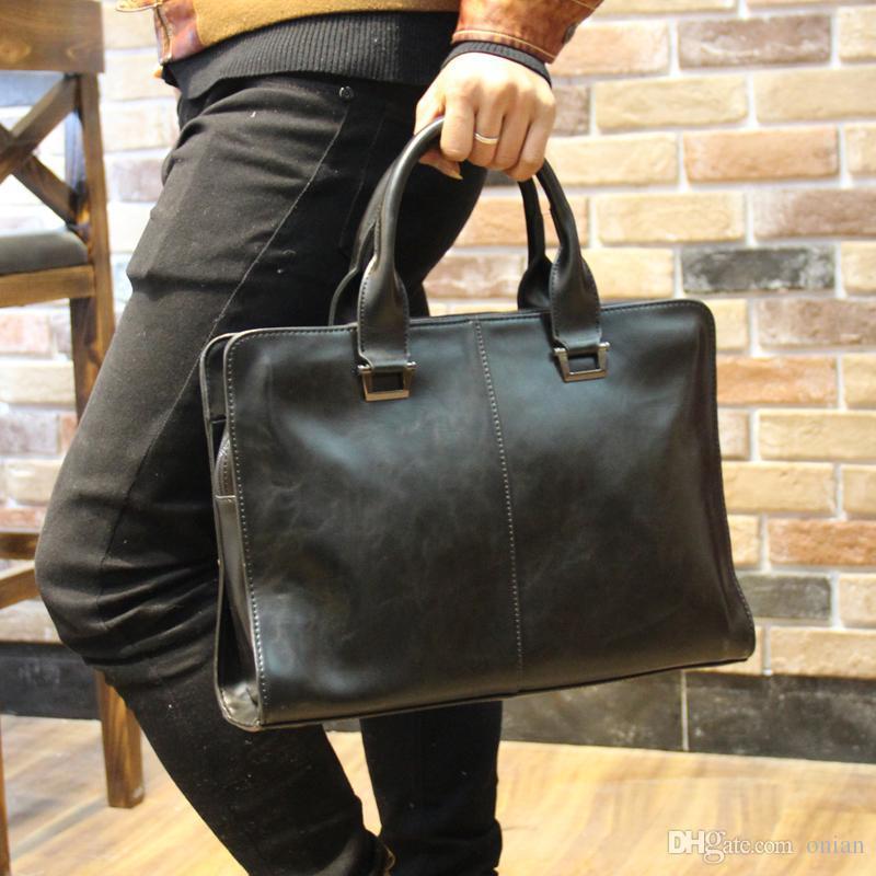 Wholesale Men Briefcase New Soft Leather Handbags Men S Casual Bag Shoulder  Messenger Bag Crossbody Bags Man Laptop Computer Case 13 Leather Laptop Bags  ...