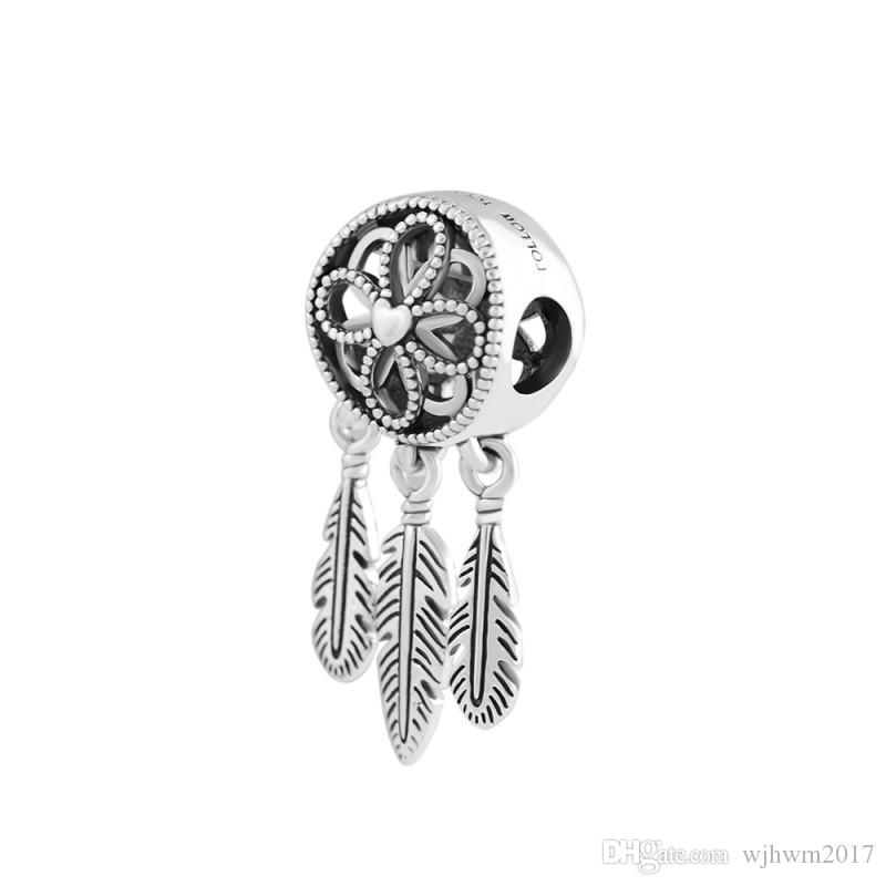9b05900c3 2019 2018 New 925 Sterling Silver Bead Charm Openwork Flower Feather  Spiritual Dream Catcher Pendant Bead Fit Pandora Bracelet Diy Jewelry From  Wjhwm2017, ...