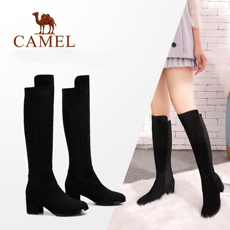 0f8935b86c2 Compre CAMEL Sobre La Rodilla Botas Altas De Invierno Mujer Zapatos 2018  Moda Tela Elástica Botas Altas Cálidas Punta Redonda Botas Largas De Felpa  De Mujer ...