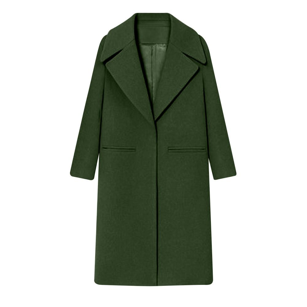 Para mujer Abrigo de lana de solapa de invierno Trench Jacket Abrigo de manga larga Outwear Chaqueta Casual Overcoat Top niña bolsillo prendas de