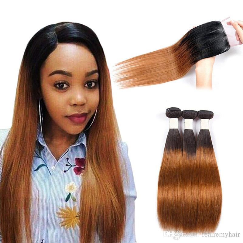 2019 Ombre Colored Two Tone Weave 1b30 Straight Hair Extensions