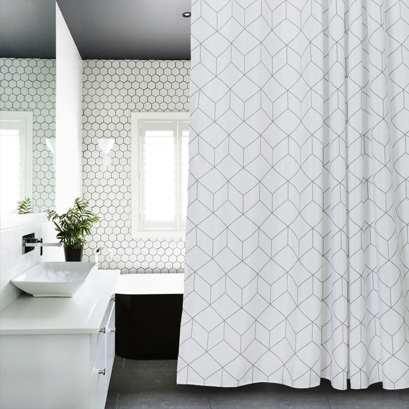 2019 European Polyester Shower Curtain White Geometric Printed Eco Friendly For The Bathroom Thick Waterproof Douchegordijn From Sheiler
