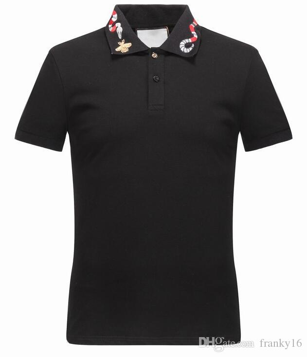 68157396ec New 2018 Summer Top Quality Polo Shirts Mens Euro Size M to 3XL Snake Bee  Embroidery 100% Cotton Tees Luxury Designer T Shirt