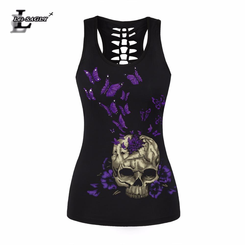 7330704aad412 2019 Lei SAGLY Punk Purple Butterfly Skull Tank Tops Black Digital Printed  Vest Summer Pattern Sleeveless Tops Slim Fitting Tank From Pattern68