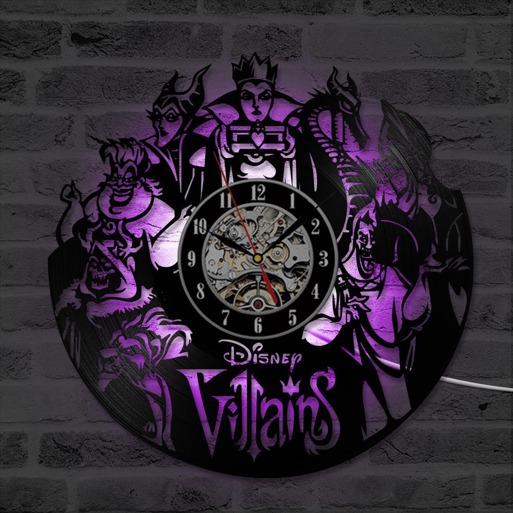 Design Backlight Bande Villains Record Silencieux 12 Led Dessinée Montre Vinyle Cd Moderne Pouce Avec Mur Décor Horloge Maison Murale Horloges TXZuOPik