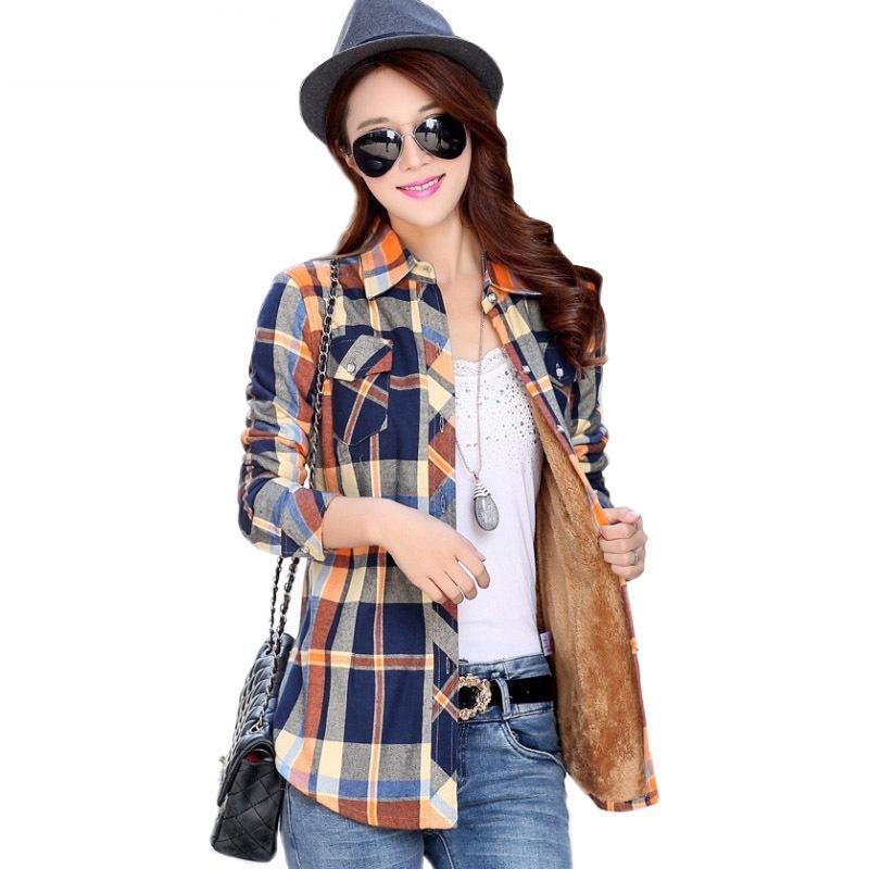 1f677941ef863f Velvet Thick Warm Women's Plaid Shirt Female Long Sleeve Tops M-XXL Size  Winter Check Blouse Blusas Femininas Chemise Autumn Online with  $48.23/Piece on ...