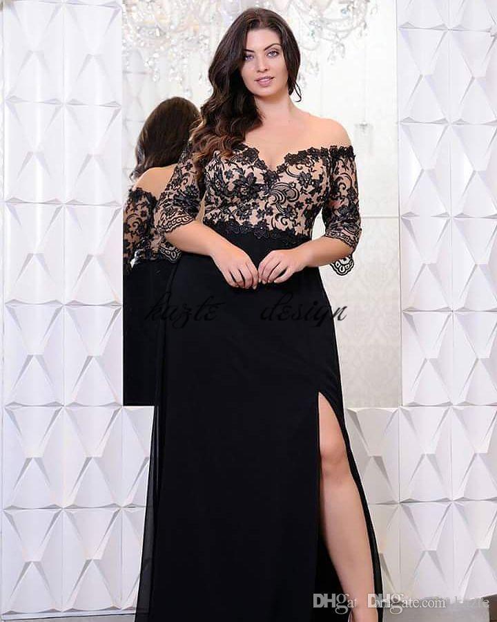 블랙 레이스 플러스 사이즈 댄스 파티 드레스는 어깨에서 절반 소매로 V 넥 분할 사이드 이브닝 가운 A 라인 시폰 공식 드레스