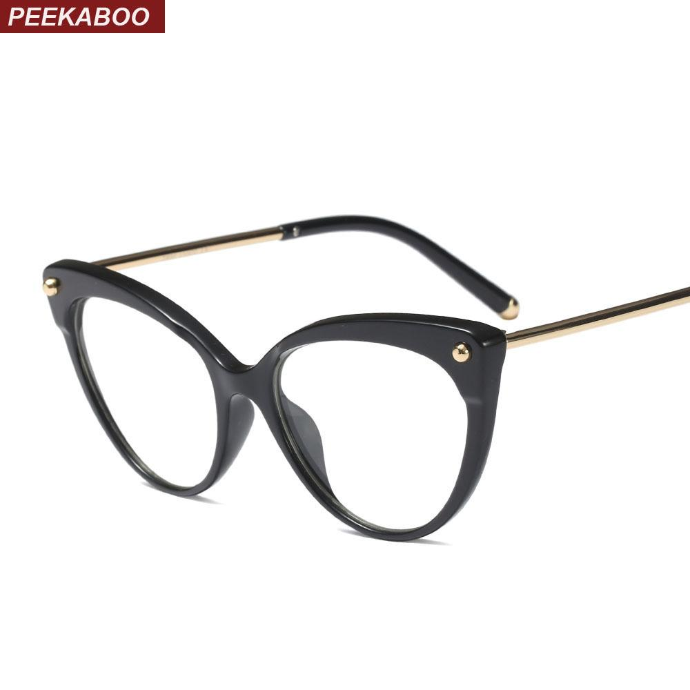 a96ab3ef282 2019 Peekaboo Retro Cat Eye Glasses Frames For Women 2019 Transparent  Optical Eyeglasses Frame TR90 Half Metal Black Leopard From Glioner