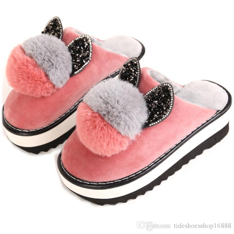 2018 New Style Bedroom Slipper Waterproof Cartoon Slippers Woman Shoes  Platform Cotton Home Slippers Winter Warm Indoor Cute Fur Boots Glass  Slipper From ... 63de6c0c51f9