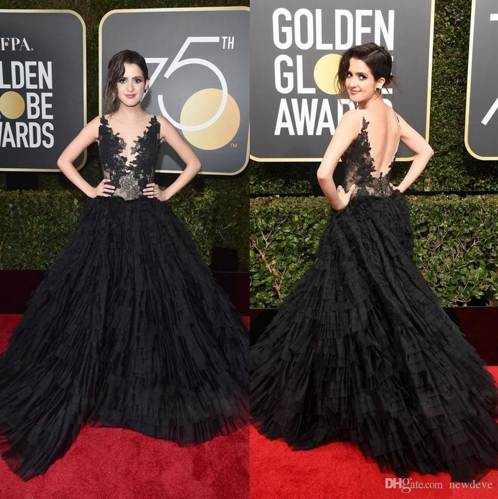 caff34ddd3cd 2018 Golden Globe Awards Lace Prom Dresses Sheer Bateau Neck Backless  Evening Gowns Tiered Laura Marano Red Carpet Formal Dress Halter Prom Dress  Hippie ...