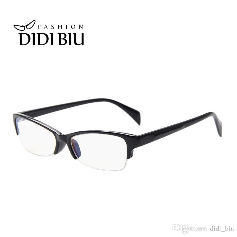 e26520e15c4 DIDI Anti-Blue Ray Half Frame Square Business Glasses Frame Women ...
