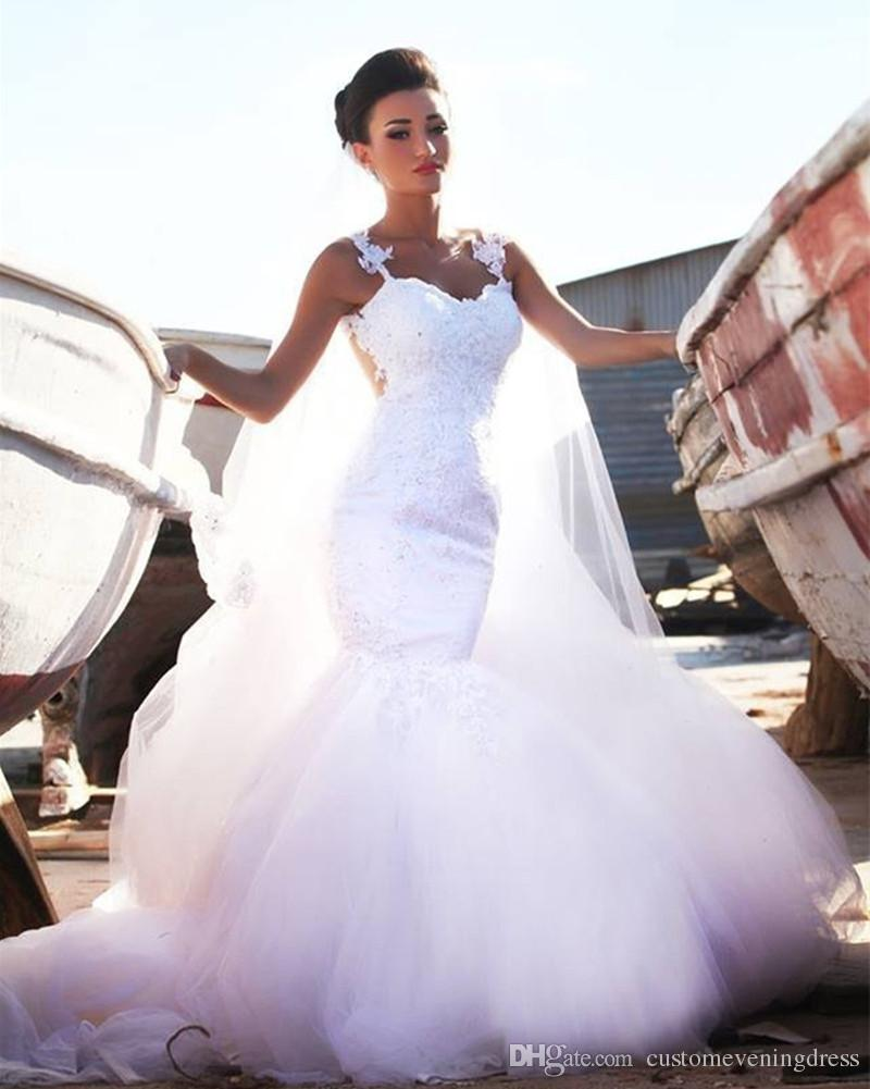 8c6443fdd9c Sexy Mermaid Wedding Dress With Spaghetti Straps Sleeveless Bridal Wedding  Dress No Train Custom Made Vestidos Wedding Dress Websites Wedding Dresses  China ...