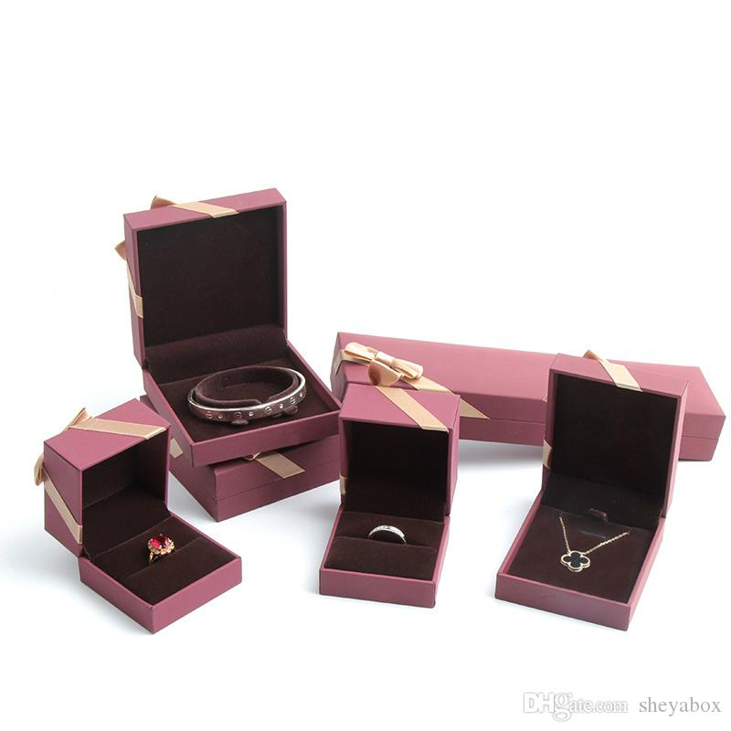 Jewelry Gift Packaging Box Smooth Fancy Paper Jewellery Ring Pendant Charm Bangle Bracelet Necklace Packing Box with Silk Bow Knot Red Wine