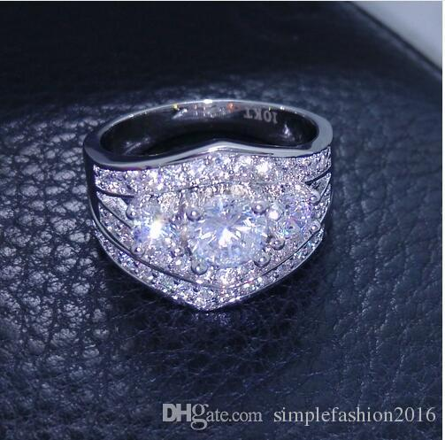 Conjunto de anillo de tres piedras para mujer Diamonique Cz Anillo de alianza de matrimonio relleno de oro blanco para mujer tamaño 5-10