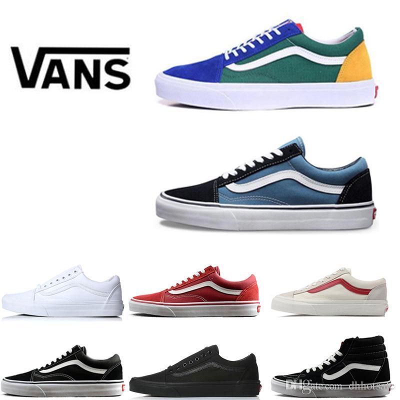 check out 4415e 46ce9 Compre Vans Shoes Zapatillas De Deporte Clásicas De Lona Azul Blanco,Negro,  Rojo Y Deportivo Para Hombres, Mujeres Originales Unisex, Zapato Skool Para  ...
