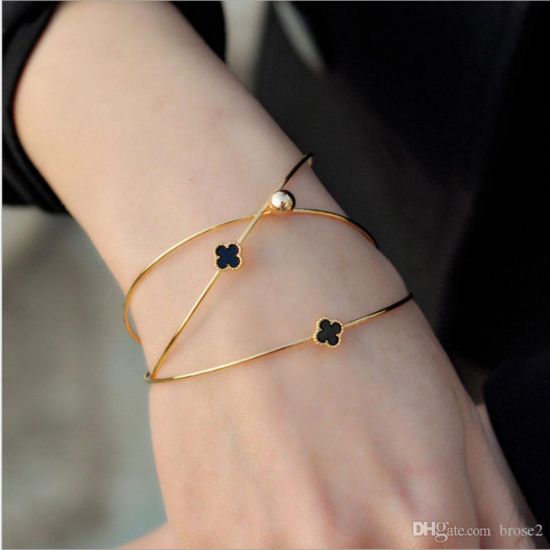 Korean Multi Layer Diamond Four Leaf Clover Opening Female Bracelet