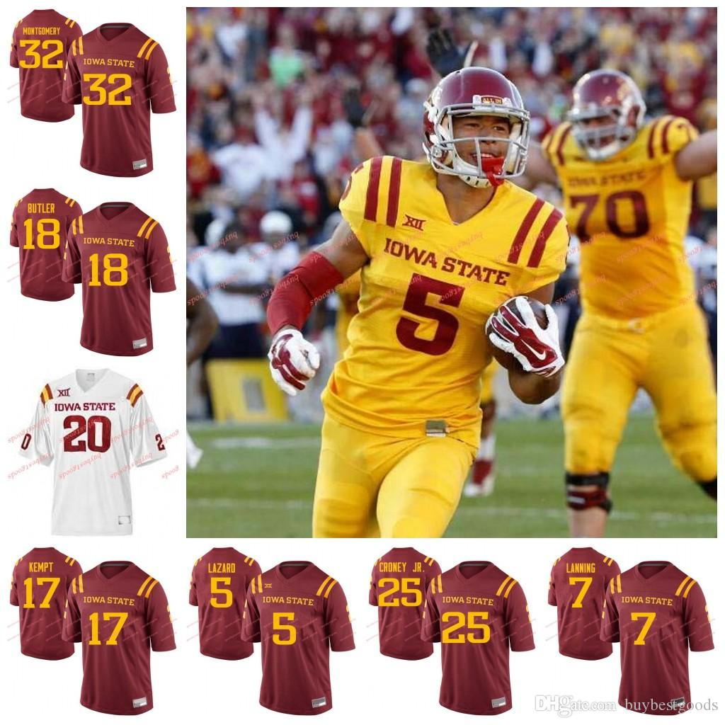 low priced 09d8f d4958 Custom NCAA Iowa State Cyclones College Football Any Name Number #17 Kyle  Kempt 5 Allen Lazard 32 David Montgomery Jerseys White Red Yellow