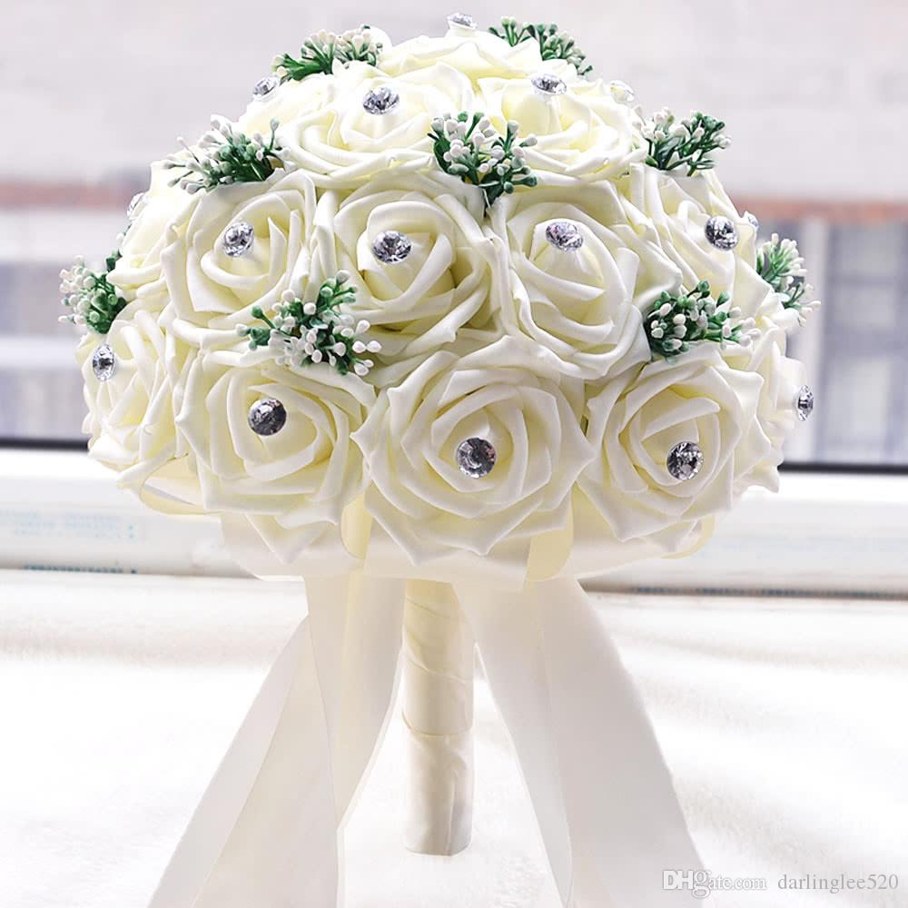 Bridal bouquets for wedding satin rose luxury crystal salable with bridal bouquets for wedding satin rose luxury crystal salable with artificial babysbreath and 30 hand made diamond roses wedding bouquets paper flowers izmirmasajfo