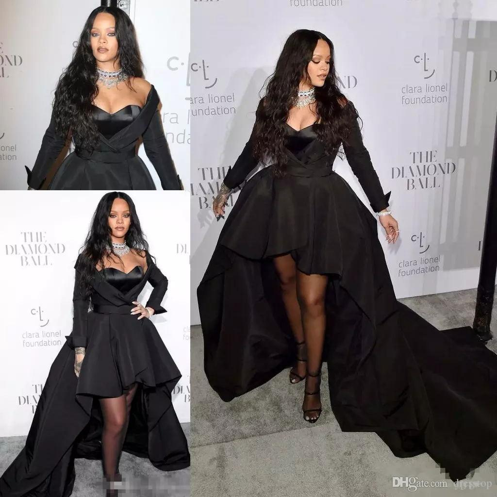 2019 Rihanna Formal Dresses Sweetheart Long Sleeve High Low Style Prom  Dress Black Satin Celebrity Evening Gowns For Special Occasion