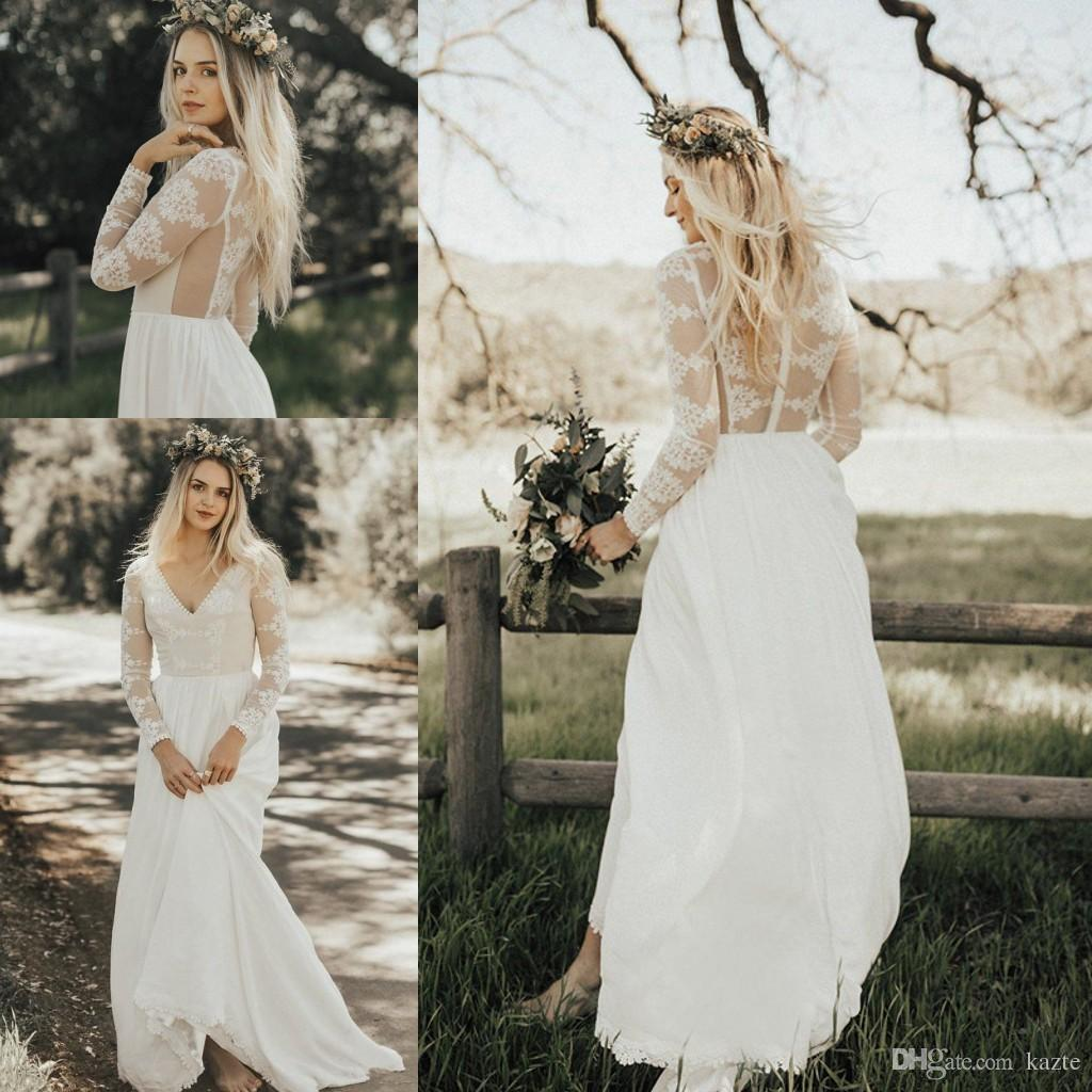 Discount 2018 Lace Chiffon A Line Boho Wedding Dresses With Long Sleeves Sexy See Through Back Informal Beach Seaside Country Dress Beautiful: See Through Country Wedding Dresses At Reisefeber.org