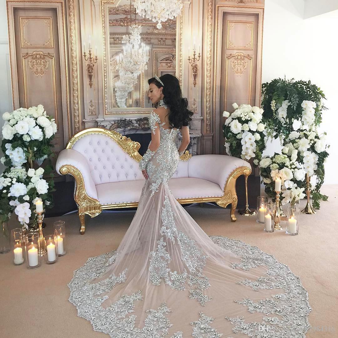 Luxurious Rhinestone Crystal Wedding Dress High Neck Beads Applique Long Sleeves Mermaid Bridal Dress Gorgeous Dubai Wedding Gown Overskirt