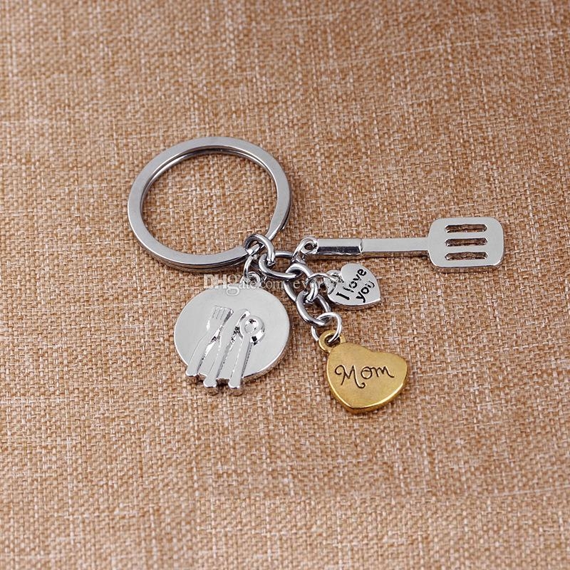 Heart kitchen Ware Hand Tools Key Chain I Love You mom dad Keychain Love Key Rings Holder Jewelry Mother Fathe Birthdays Gift